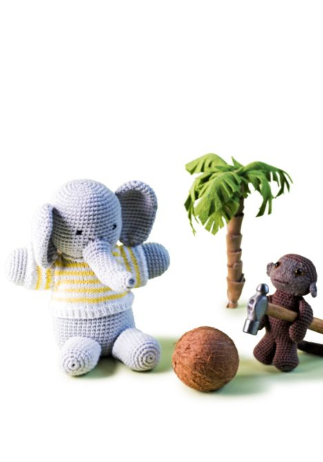 Kuinka saisin rikki kookospähkinän?  Virkatut norsu ja apina SK 2/14.