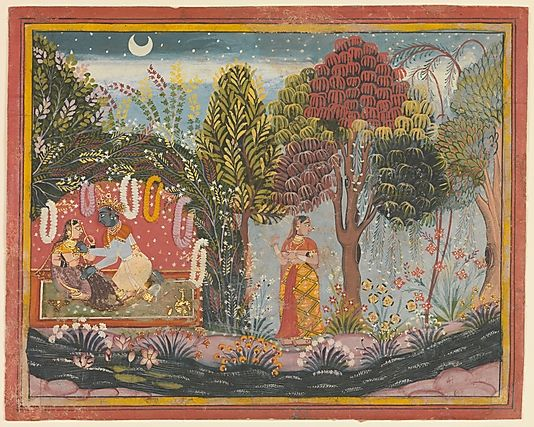 Krishna and Radha in a Bower: Page From a Dispersed Gita Govinda  Sahibdin  (active ca. 1628–55)