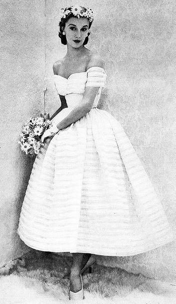 Bride <3 1951. #wedding #vintage #weddingdresses  always fancy about vintage tea length wedding dress