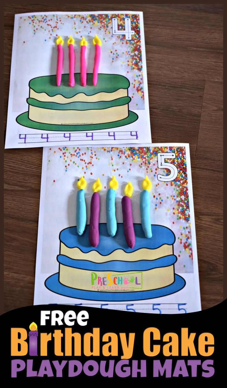 FREE Birthday Cake Playdough Mats – fun, hands on …