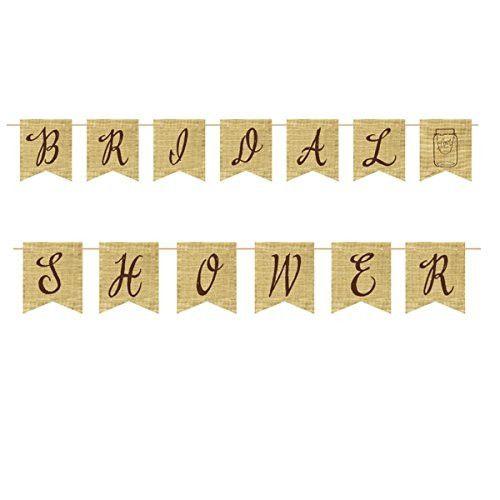 Bridal Shower Burlap Pennant Banner, 8' | 1 ct