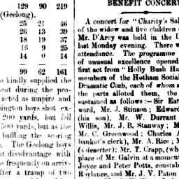 """Benefit concert for a family. Hotham club performance """"First act from Holly Bush Hall ... Mr. J. B. Stanway; Major Bell,"""" North Melbourne Advertiser, 31 Oct 1884, p. 3, 'Benefit Concert'."""