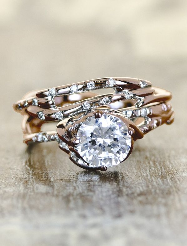 pretty wrap branch style rose gold ring with stones throughout and larger stone nested on top - Wedding Rings Tumblr