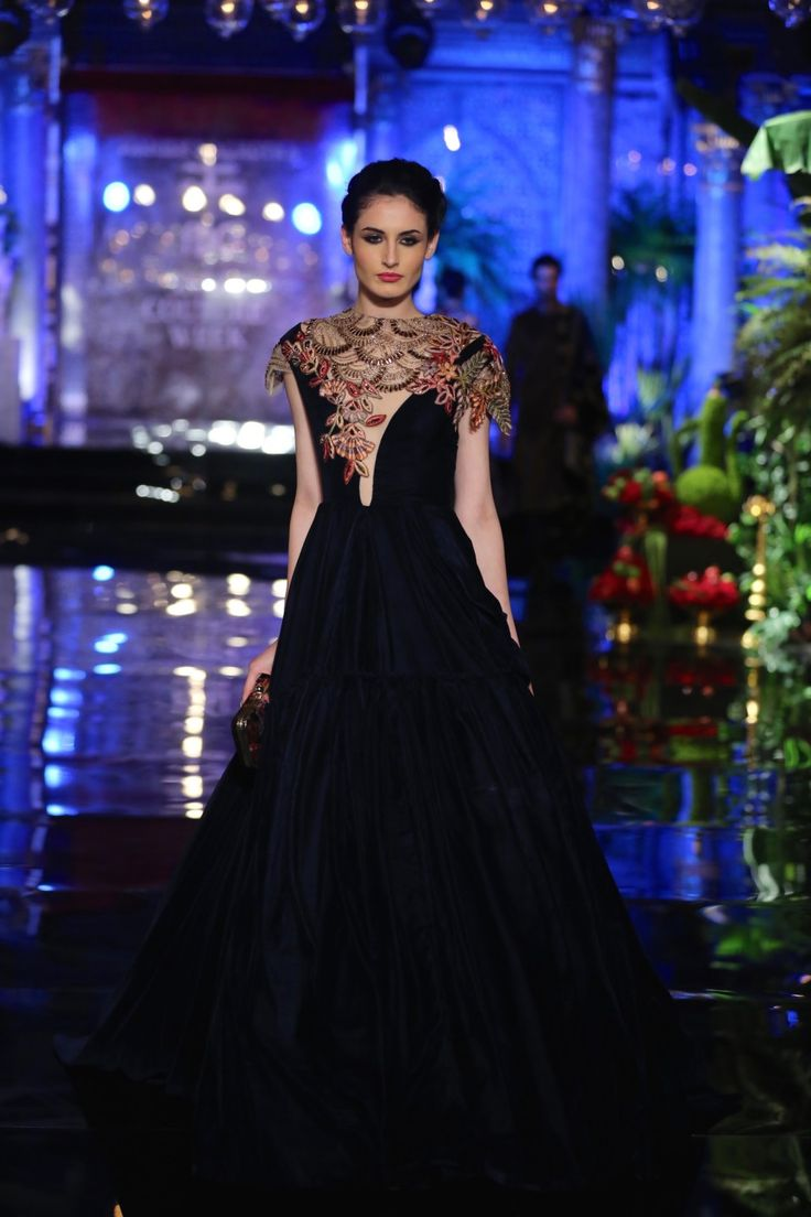Top Picks - Dark blue velvet gown with embroidered short jacket draped - Manish Malhotra India Couture Week 2016