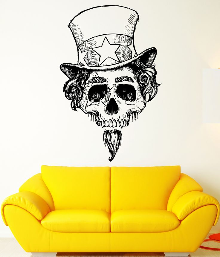 Wall decal skull cylinder magician illusionist skeleton vinyl decal ed343