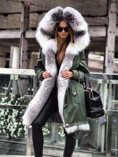 Купить Парка хаки классика с шикарной полярной лисой - парка, куртка, куртка женская