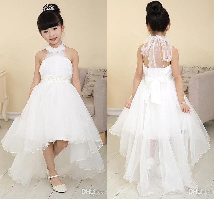 Cool Cheap Flower Girls Dresses Discount Wedding Summer Beach Flower Girls Dresses Backless Sleeveless Online with