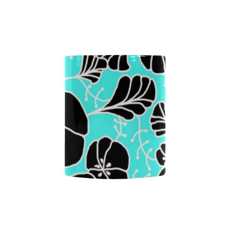 CVDr0098 Blue White Black Tangle Flowers Custom Morphing Mug
