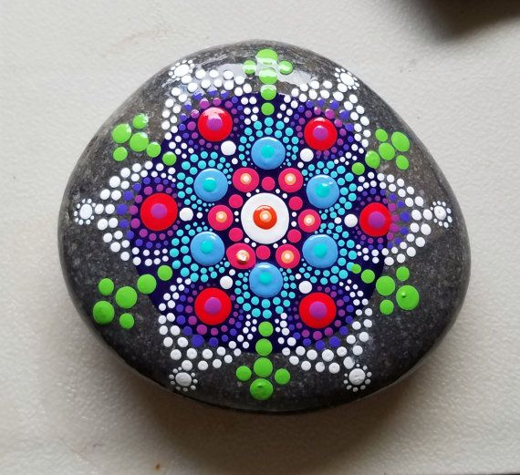 New Mandala Stone ~ Painted Rock ~ Colorful Dot Art Painting ~ Original Home Decor / Painted Stone / Turquoise Blue Green Yellow Pink