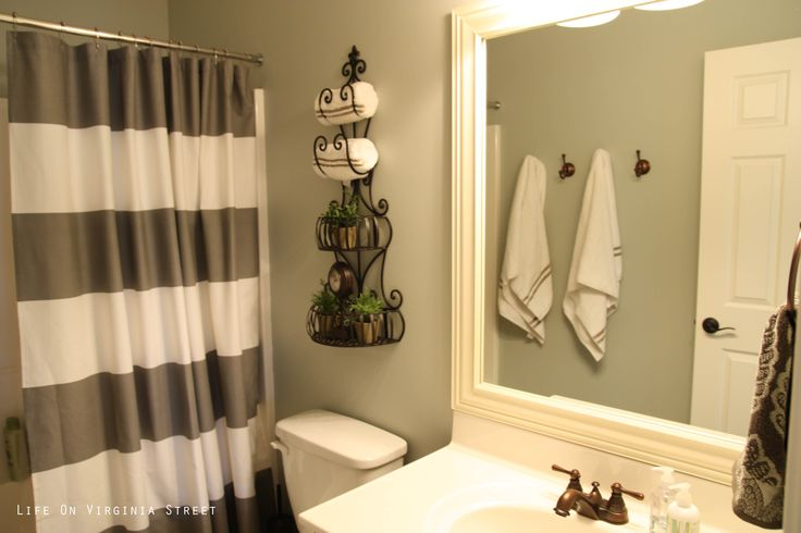 Sage with white trim brushed silver instead of bronze for Bathroom restoration ideas