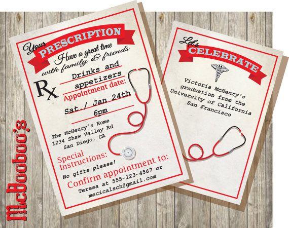 Medical School  or Nursing School Graduation Invitations. Love these!!