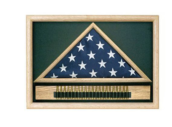 Military 21 Gun Salute Flag Display Case