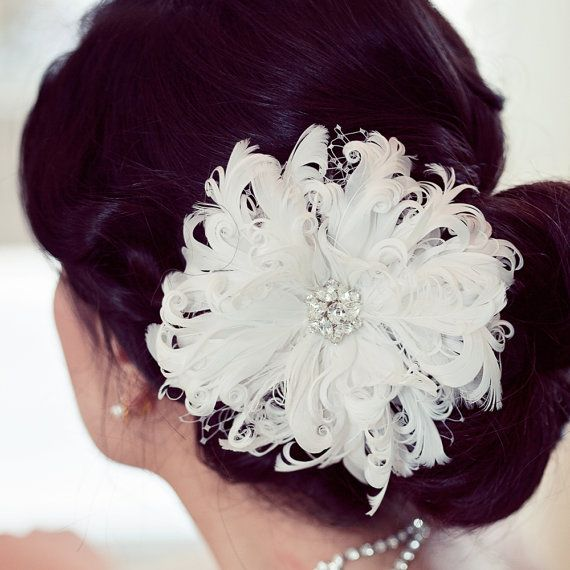 White Feather Flower Fascinator by ChantillyLaceDesigns on Etsy, $64.00