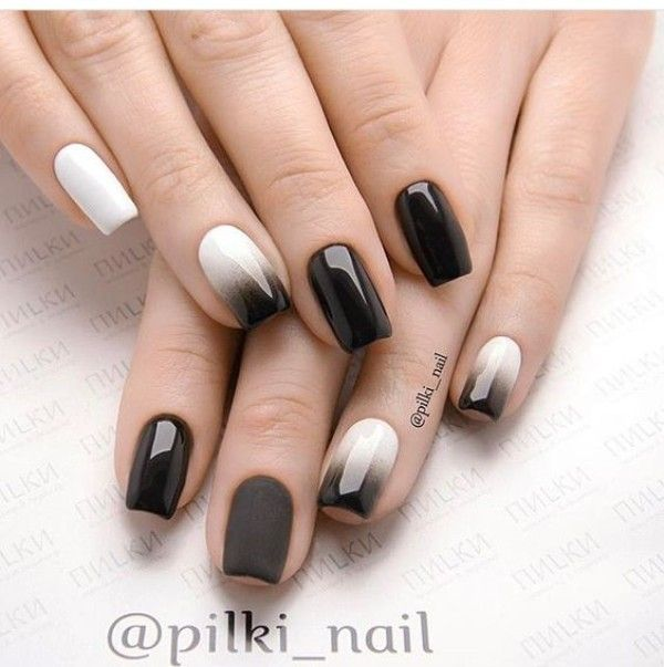 Black White Fall Ombre Nails Ombre Nails Red Nails Squoval Nails