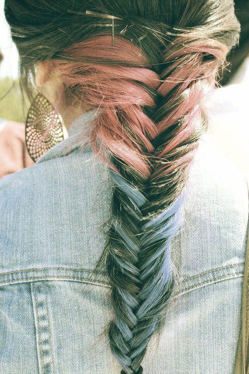 fishtail braidHair Colors, Blue, Fishtail Braids Hairstyles, Dips Dyes, Hairchalk, Plaits, Hair Style, Hair Chalk, Colors Hair