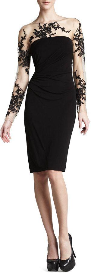 David Meister Illusion-Lace Cocktail Dress on shopstyle.com
