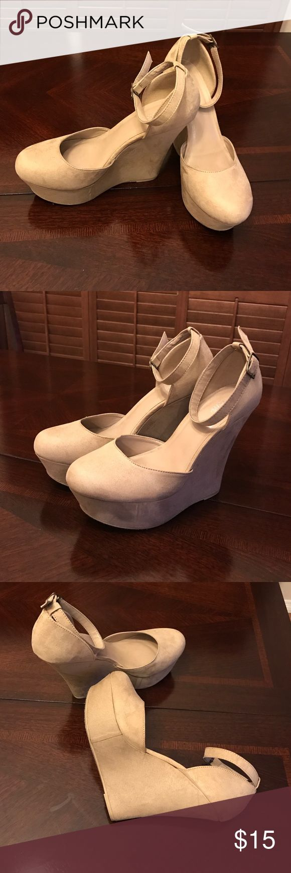 Nude Suede Platform wedge shoes Great condition, very comfortable, 5inch, nude platform wedge shoes. Worn only a couple of times. Great color that goes with any outfit. Charlotte Russe Shoes Wedges