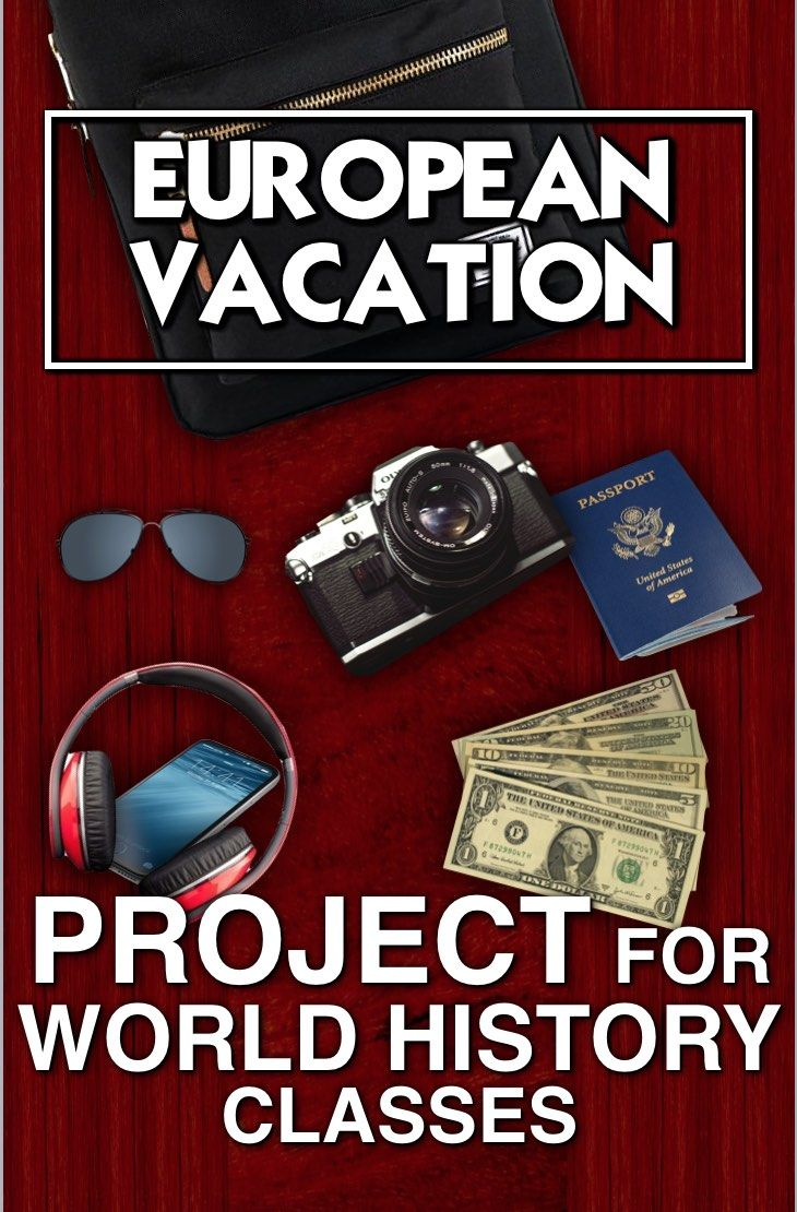 European Vacation Project is a fun way for World History students to sum up their European history by traveling to Europe! This is a wonderful project to end of the year in World History class - one of my favorites! Students research a summer trip to Europe and present their fun to the class. You will need online access to computers, iPads etc. Students can use PowerPoint, Google slide or any other slide show app. Rubric and Warm-up questions included.