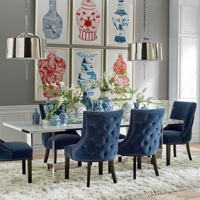 Paulownia Blue Wood Pot Collection Frontgate Small Dining Room Decor Dining Room Decor Tufted Dining Chairs