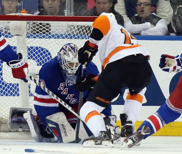 Henrik Lundqvist #30 of the New York Rangers tends net against the Philadelphia Flyers in Game Five of the First Round of the 2014 NHL Stanley Cup Playoffs at Madison Square Garden on April 27, 2014 in New York City. The Rangers defeated the Flyers 4-2.