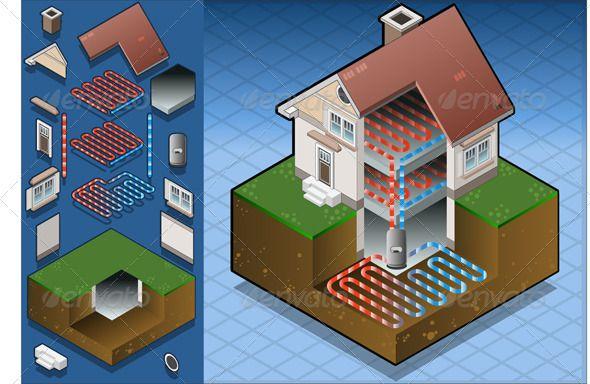 Isometric Geothermal Heat Pump Under Floor Heating   Heat Pump    Isometric Geothermal Heat Pump Under Floor Heating   Heat Pump  Pump and Concept Diagram
