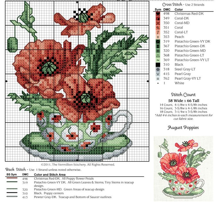 fleur - flower - coquelicot - point de croix - cross stitch - Blog : http://broderiemimie44.canalblog.com/