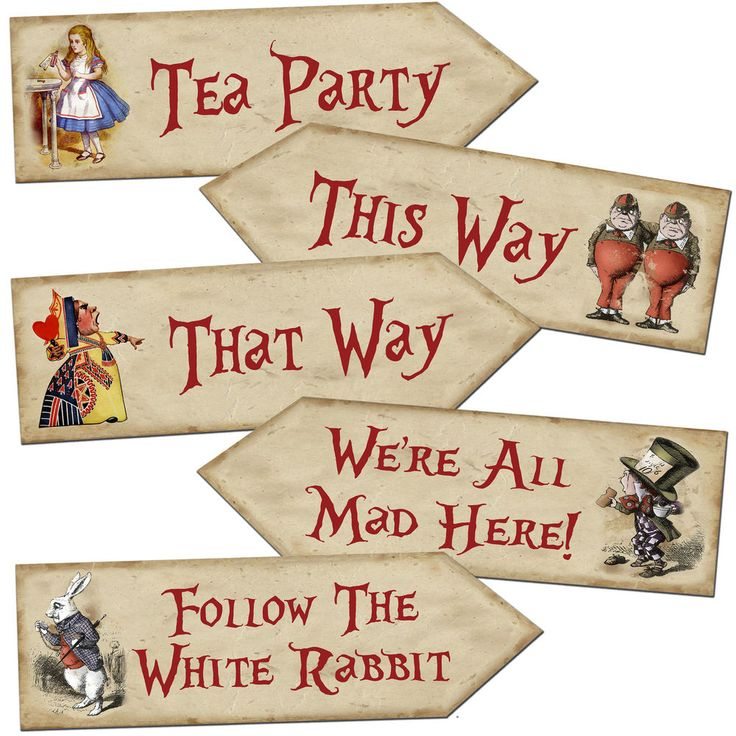 Alice in Wonderland Arrow Quote Signs Prop Mad Hatters Tea Party Decoration #AbsolutelyAmor #BirthdayChild