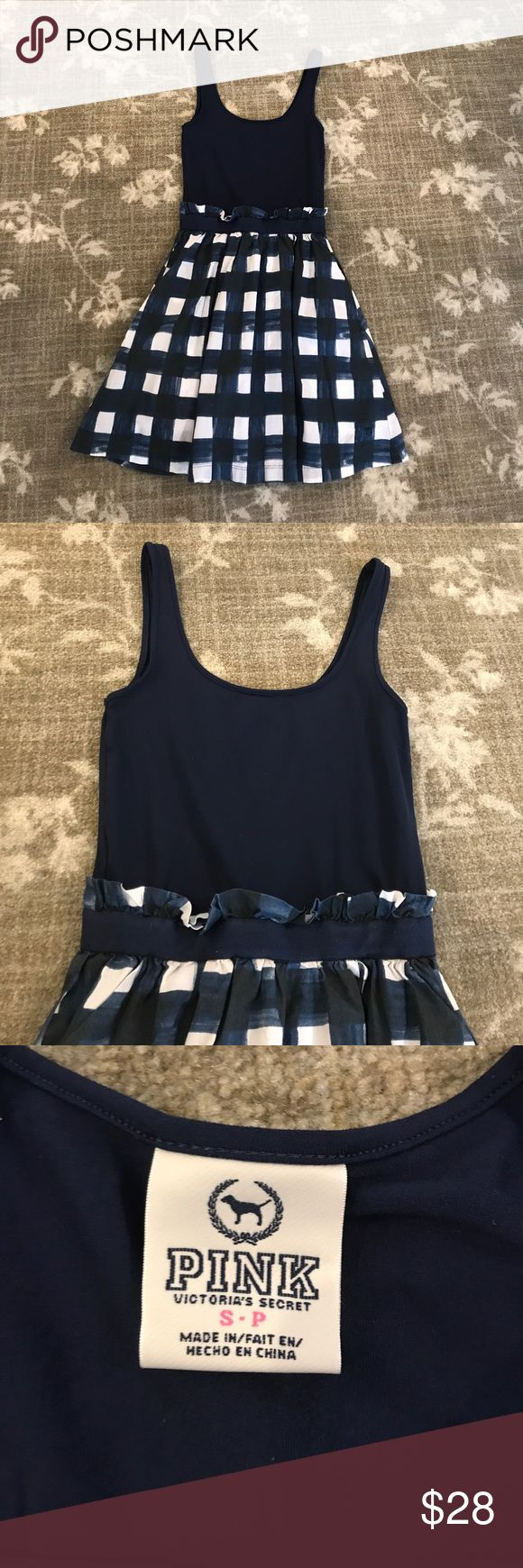 PINK Victoria's Secret Sun Dress🎉 Navy blue and white PINK Victoria's Secret sun dress. Top is stretchy. Bottom is cotton. Size Small. Worn before. I'm good condition! PINK Victoria's Secret Dresses Mini