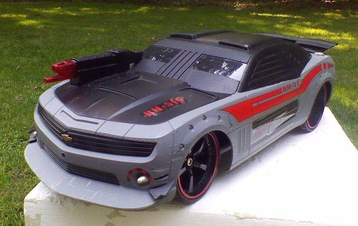 Jada Toy Car Chevy Camaro SS Black Grey Machine Gun Hood Robot Voice And Lights #jada