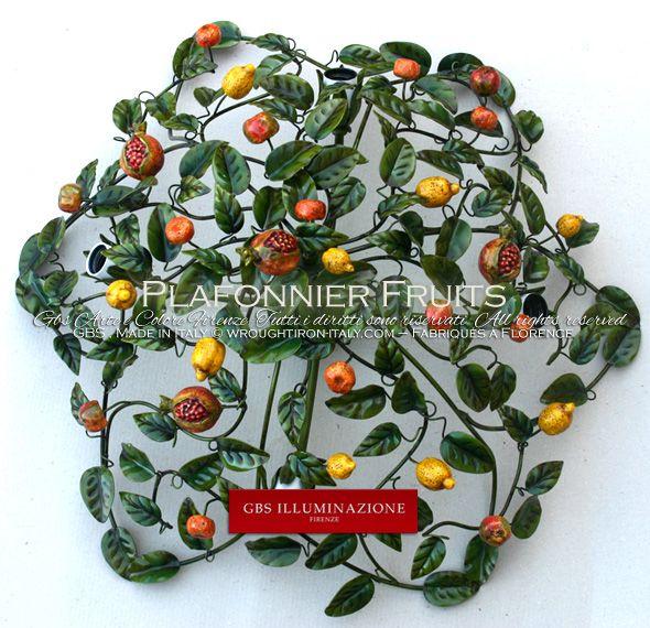 Plafonnier Fruits | GBS Plafonnier en fer forgé, décoré à la main, émail ancien. Idéal pour la décoration et l'éclairage de la cuisine.