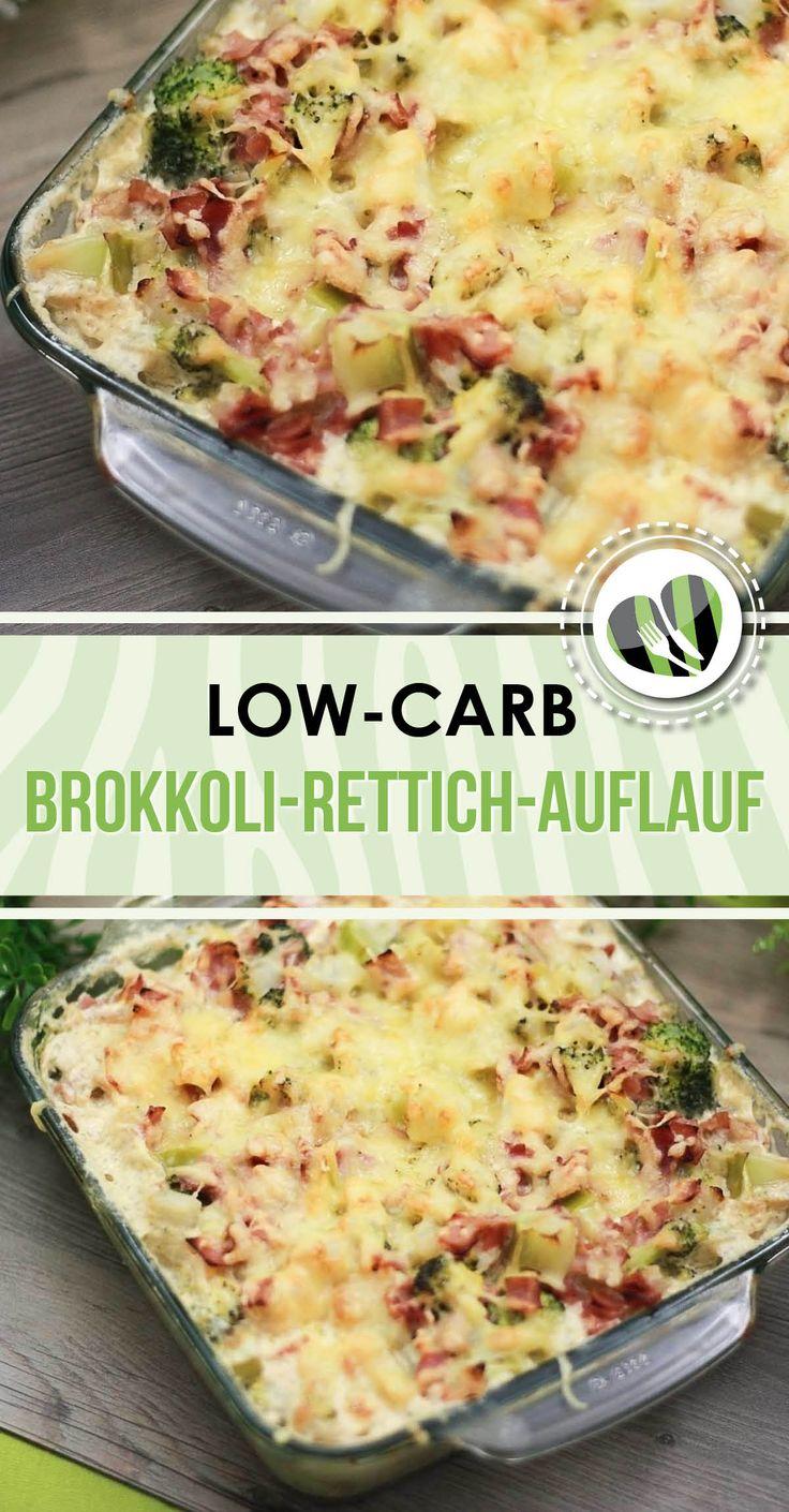 Der leckere low-carb Brokkoli-Rettich-Auflauf ist ein perfektes kohlenhydratarmes Hauptgericht. Zudem ist das Rezept glutenfrei.