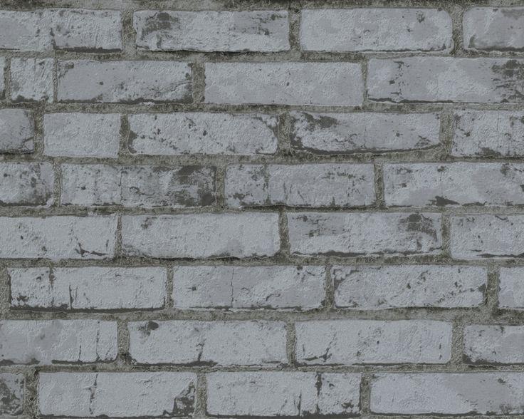 Maskulin teglstein i mørk grått. Struktur i overflaten gir en svært god imitasjon. Fra kolleksjonen New England #Wallpaper