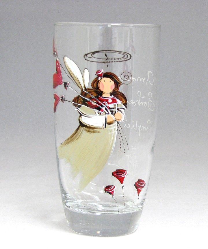 Verre à eau (510 ml) : : Ange- Emma   *** Produit peint à la main.