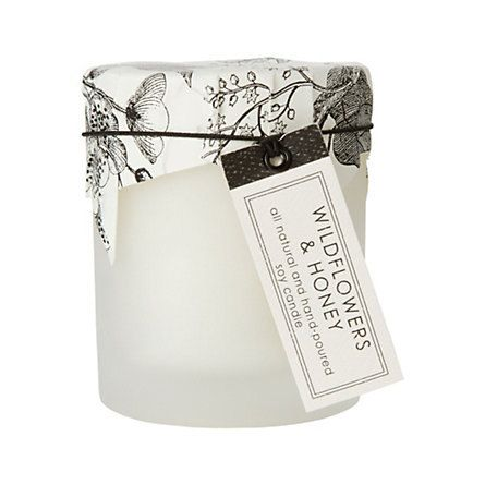 Wild Flowers & Honey Candle in Frosted Glass  By by sweetpetula, $24.00