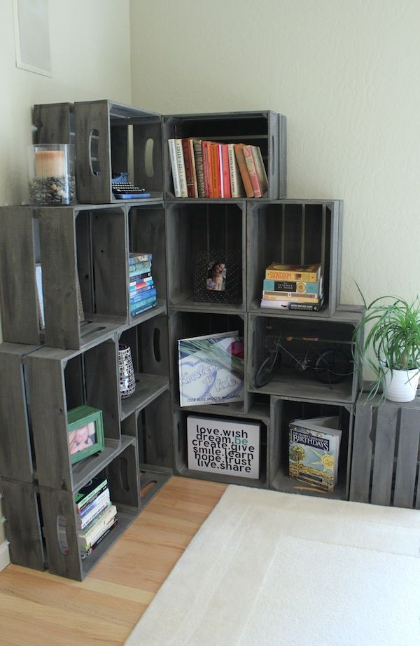 wooden crates stacked and anchored to be shelves Visual Jill Interior Decorating