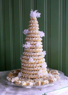 Norwegian wedding cake, many times there are little Norwegian flags sticking out all over it.