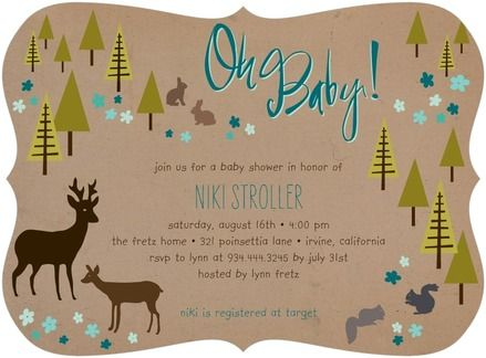 Forest Dwellers - Baby Shower Invitations - Tallu-lah - Wave Blue #babyshowerShowers, Birthday Parties, Forests Dweller, Baby Shower Invitations, Holiday Cards, Squares Corner, Products, Tiny Prints, Baby Shower