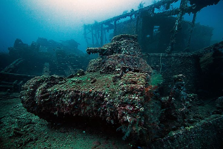 underwater in Truk Lagoon in Micronesia, where many ships & planes were sunk in an attack by Americans during World War II.