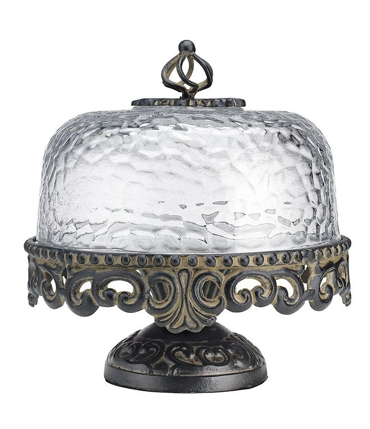 Artimino footed cake plate with hammered glass