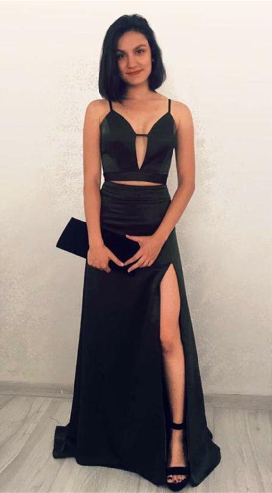 d8feca3ba6 Two Piece Spaghetti Straps Dark Green Stretch Satin Prom Dress ...