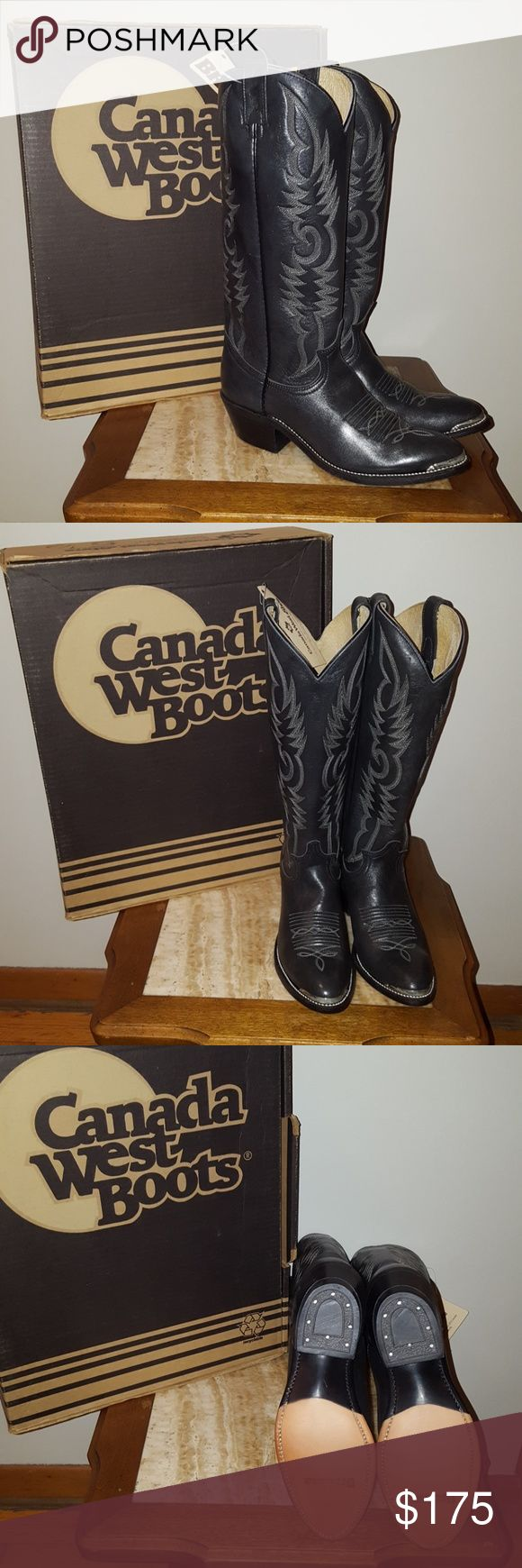 Ladies Western Boots NWT Ladies all leather western boots. Brahma by Canada West, 2 pairs sizes 7 and  5 1/2, dark gray with off white stitching and silver metal toe cap.  Gorgeous boots. Canada West Shoes