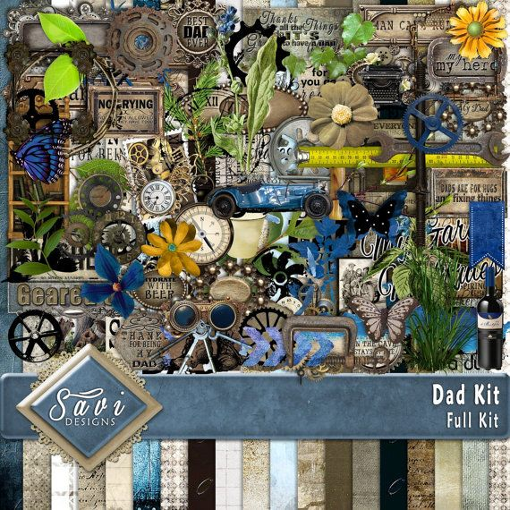 Digital Scrapbooking Kit DAD, rustic, vintage, Father, tools, Word Art Gears, Steampunk, suitable for vintage and modern Scrap Pages   Included in this Kit 19 x BG Papers 97 x Embellishments