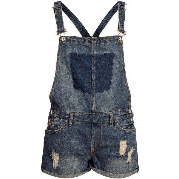 Eight2Nine Damen Jeans Latz Short Cross Denim by Rock Angel dark blue... ($17) ❤ liked on Polyvore featuring jeans, short jeans, blue denim jeans, dark blue jeans, dark blue denim jeans and denim jeans