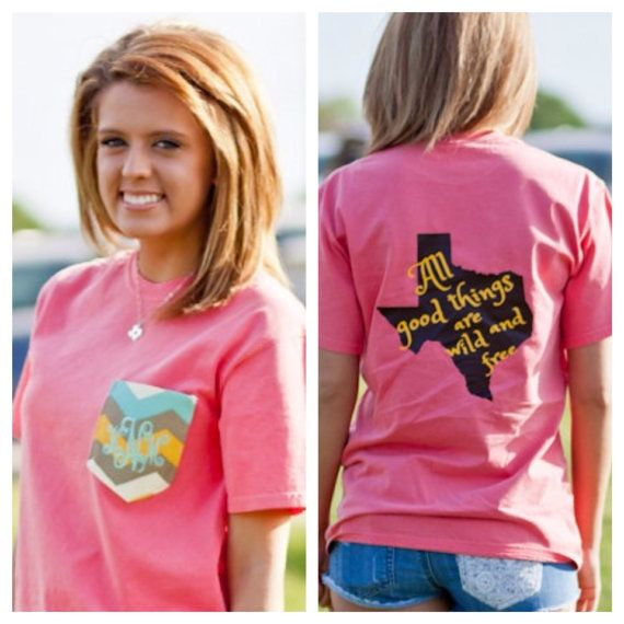 Monogrammed Frocket Tee With Texas On Etsy But