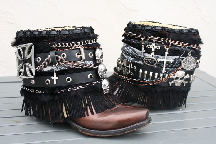 Upcycled, redesigned cowboy boots, festival boots, boho boots, gyspy boots,biker boots, riding boots from InKaBoots on Etsy.