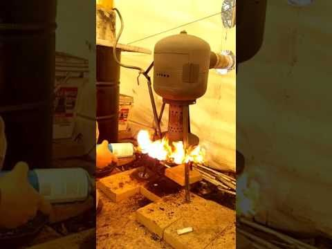 20 pound propane tank gravity fed oil burner startup and tour - YouTube