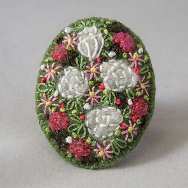 Pink and White Roses Felted and Embroidered Brooch