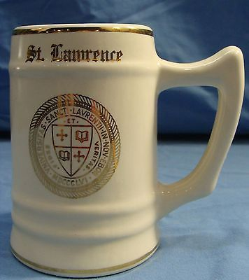 VINTAGE RARE ST.LAWRENCE UNIVERSITY COLLEGE MUG C.BUNTING CO CREAM/GOLD HTF