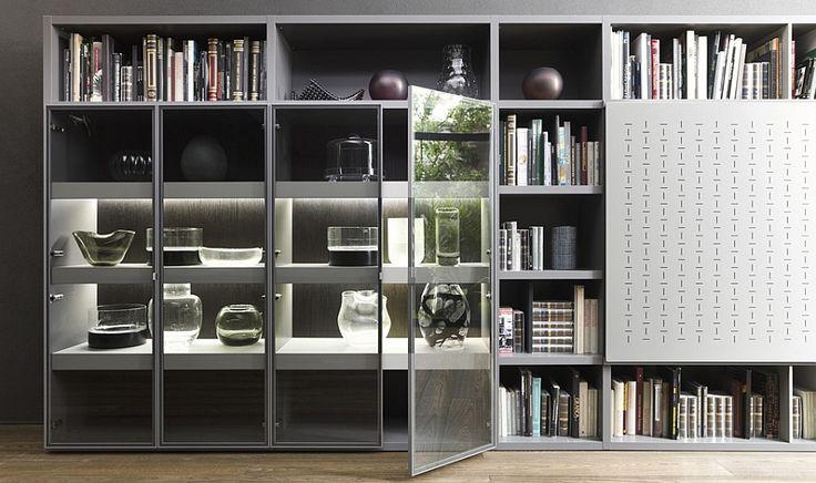 Precioso-display-en-el-modular de pared de unidad con puertas de vidrio
