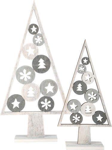 drewniane choinki - dekoracja świąteczna - 2 sztuki